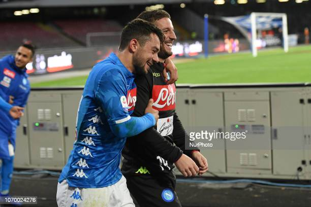 Amin Younes and Dries Mertens of SSC Napoli during the Serie A TIM match between SSC Napoli and Frosinone Calcio at Stadio San Paolo Naples Italy on...