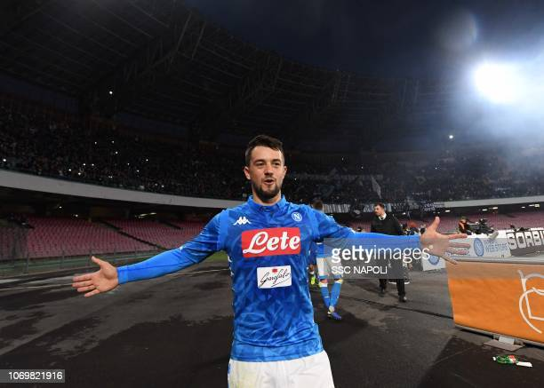 Amin Younes during the Serie A match between SSC Napoli and Frosinone Calcio at Stadio San Paolo on December 8 2018 in Naples Italy