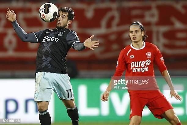 Amin Younes of Ajax Amsterdam Enes Unal of FC Twenteduring the Dutch Eredivisie match between FC Twente and Ajax Amsterdam at the Grolsch Veste on...