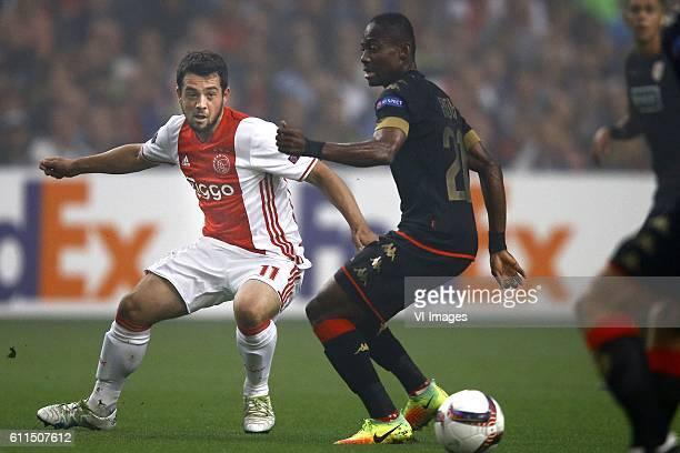 Amin Younes of Ajax Amsterdam Eyong Enoh of Standard Luik during the UEFA Europa League group G match between Ajax Amsterdam and Standard Li#232ge at...