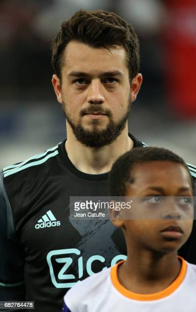 Amin Younes of Ajax Amsterdam looks on before the UEFA Europa League semi final second leg match between Olympique Lyonnais and Ajax Amsterdam at...