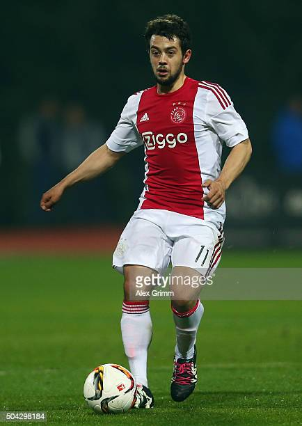 Amin Younes of Ajax controles the ball during a friendly match between Hamburger SV and Ajax Amsterdam at Gloria Sports Center on January 9 2016 in...