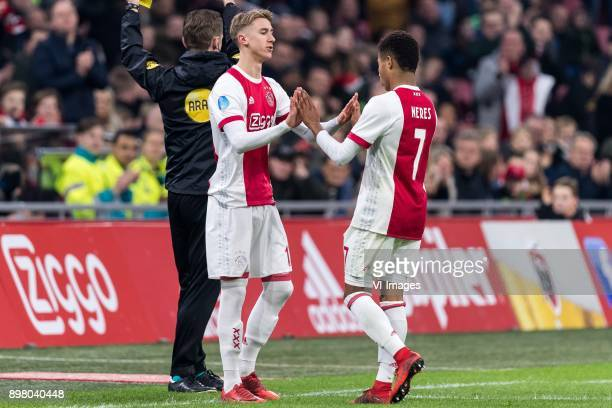 Amin Younes of Ajax David Neres of Ajax during the Dutch Eredivisie match between Ajax Amsterdam and Willem II Tilburg at the Amsterdam Arena on...