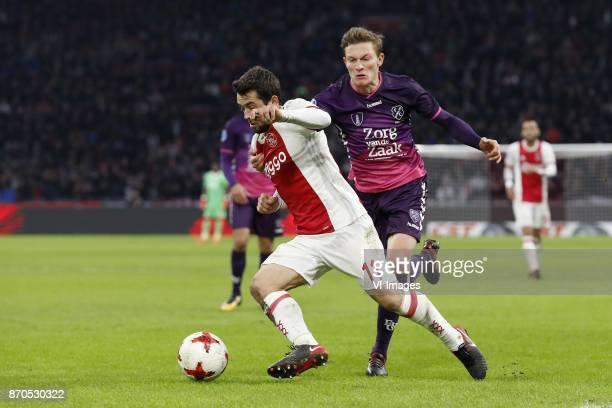 Amin Younes of Ajax Rico Strieder of FC Utrecht during the Dutch Eredivisie match between Ajax Amsterdam and FC Utrecht at the Amsterdam Arena on...