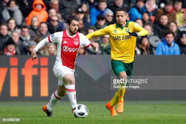Amin Younes of Ajax Tyronne Ebuehi of ADO Den Haag during the Dutch Eredivisie match between Ajax v ADO Den Haag at the Johan Cruijff Arena on...