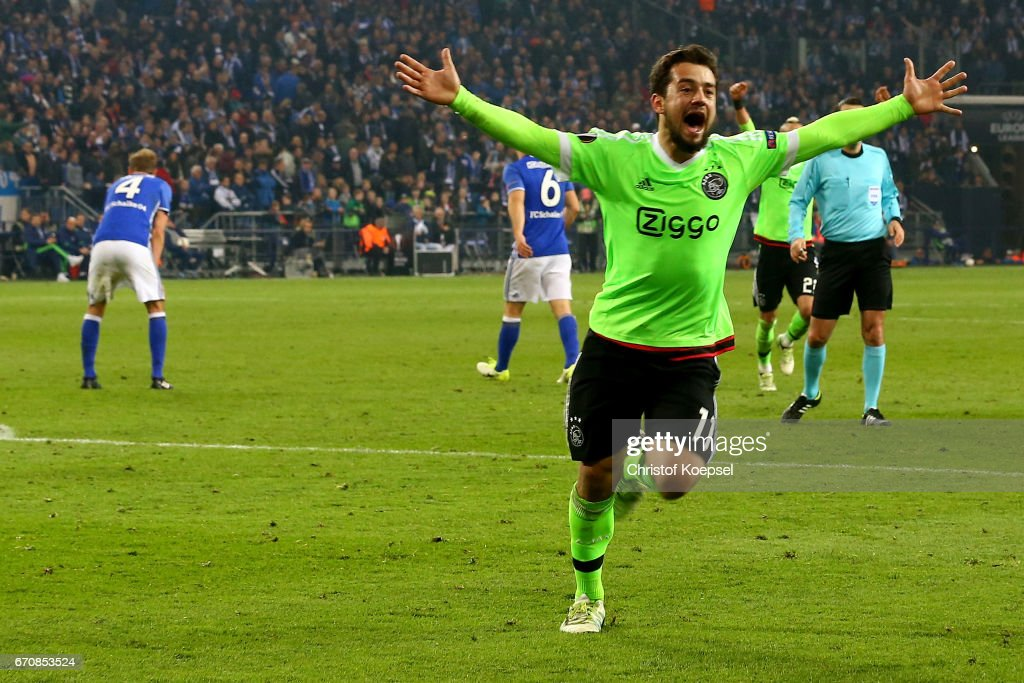 Amin Younes of Amsterdam celebrates the second goal during the UEFA Europa League quarter final second leg match between FC Schalke 04 and Ajax Amsterdam at Veltins-Arena on April 20, 2017 in Gelsenkirchen, Germany.