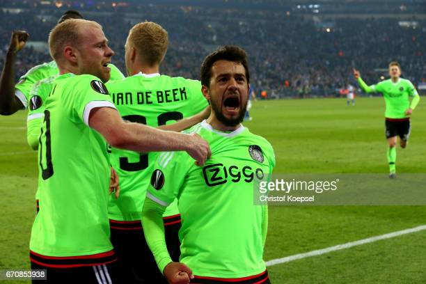 Amin Younes of Amsterdam celebrates the second goal with Davy Klaassen of Amsterdam during the UEFA Europa League quarter final second leg match...