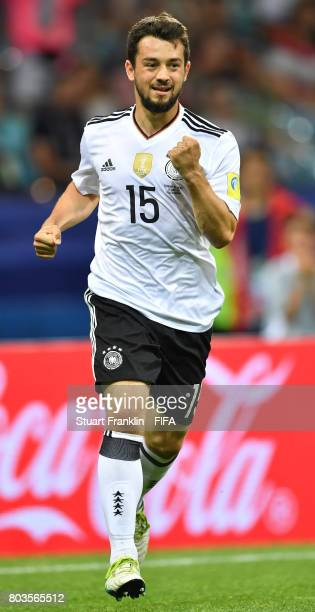 Amin Younes of Germany celebrates scoring his team's fourth goal during the FIFA Confederations Cup Russia 2017 semi final match between Germany and...