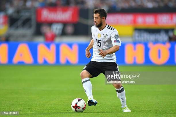Amin Younes of Germany plays the ball during the FIFA 2018 World Cup Qualifier between Germany and San Marino at Stadion Nurnberg on June 10 2017 in...