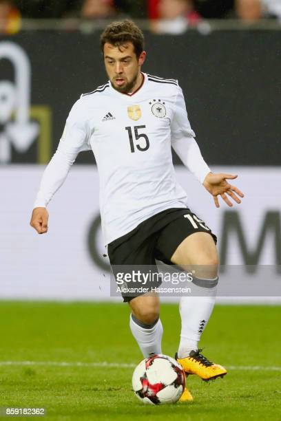 Amin Younes of Germany runs with the ball during the FIFA 2018 World Cup Qualifier between Germany and Azerbaijan at FritzWalterStadion on October 8...
