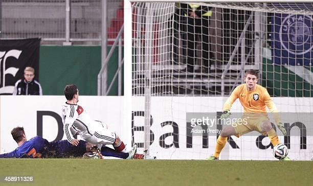 Amin Younes of Germany scores a goal during the U21 Germany v U21 Netherlands International Friendly match at Audi Sportpark on November 13, 2014 in...