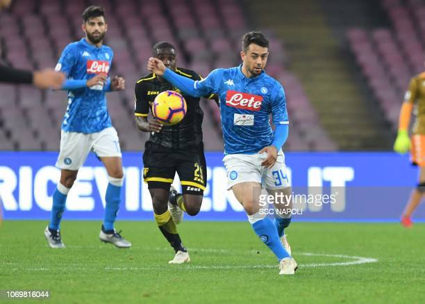 Amin Younes of Napoli during the Serie A match between SSC Napoli and Frosinone Calcio at Stadio San Paolo on December 8 2018 in Naples Italy