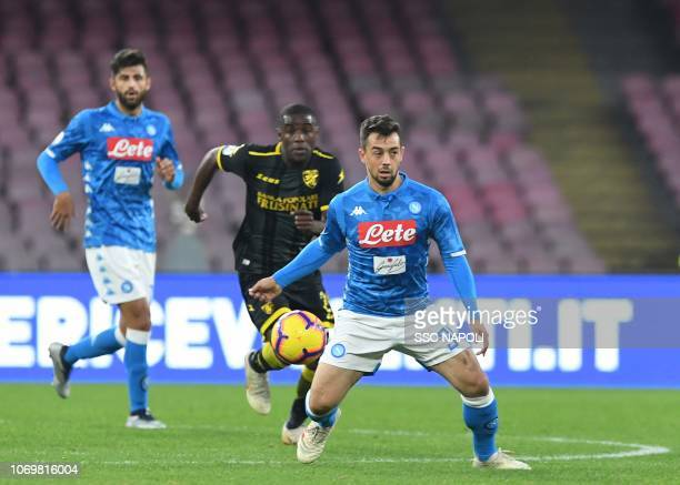 Amin Younes of SSC Napoli during the Serie A match between SSC Napoli and Frosinone Calcio at Stadio San Paolo on December 8 2018 in Naples Italy