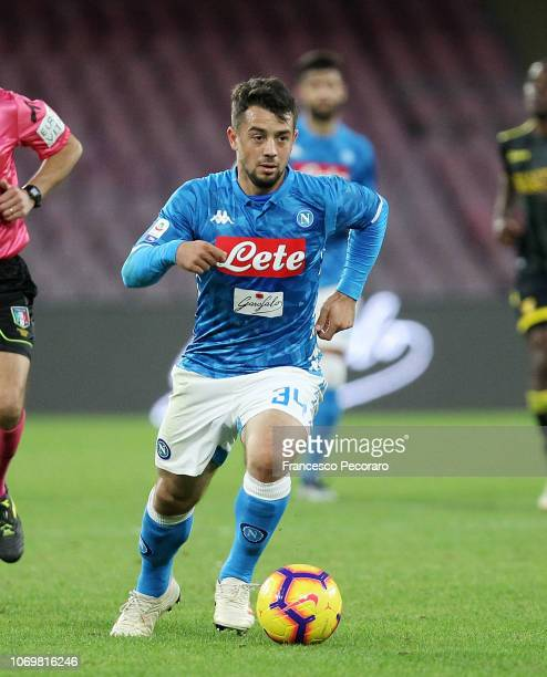 Amin Younes of SSC Napoli in action during the Serie A match between SSC Napoli and Frosinone Calcio at Stadio San Paolo on December 8 2018 in Naples...