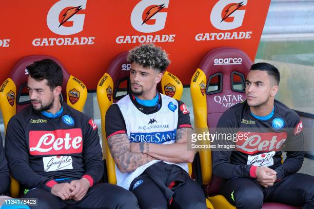Amin Younes of SSC Napoli Kevin Malcuit of SSC Napoli Adam Ounas of SSC Napoli during the Italian Serie A match between AS Roma v Napoli at the...