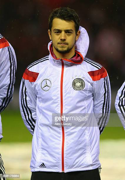 Amin Younes of U21 Germany lines up prior to the International Friendly match between U21 England and U21 Germany at the Riverside Stadium on March...