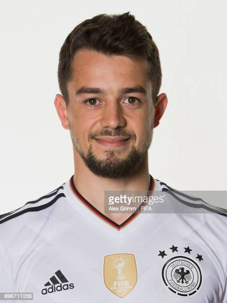 Amin Younes poses for a picture during the Germany team portrait session on June 16 2017 in Sochi Russia