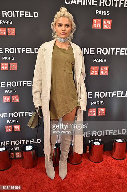 Amina Blue attends the UNIQLO Fall/Winter 2016 Carine Roitfeld collection launch at UNIQLO on October 26 2016 in New York City