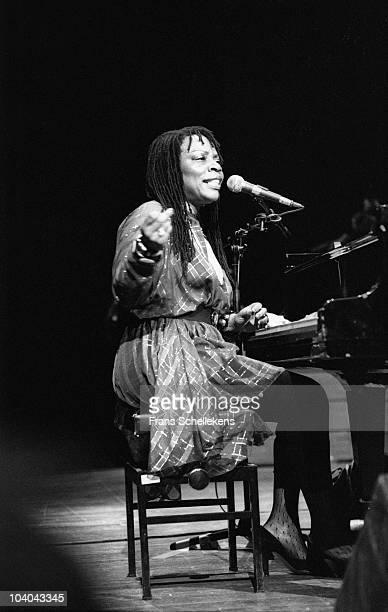 Amina Claudine Meyers performs on stage at Oosterpoort on May 25 1985 in Groningen, Netherlands.