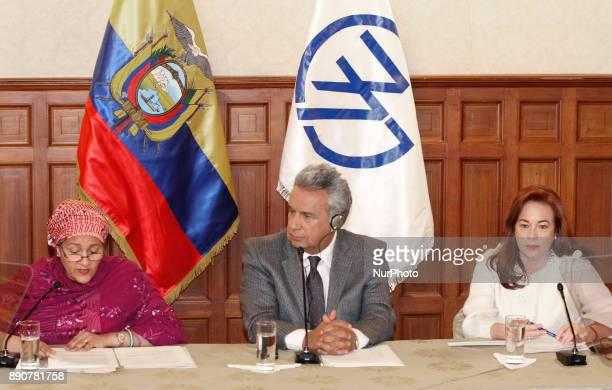 Amina J Mohammed Deputy General Secretary of the UN President of Ecuador Lenin Moreno and Chancellor Maria Fernanda Espinosa during the meeting at...