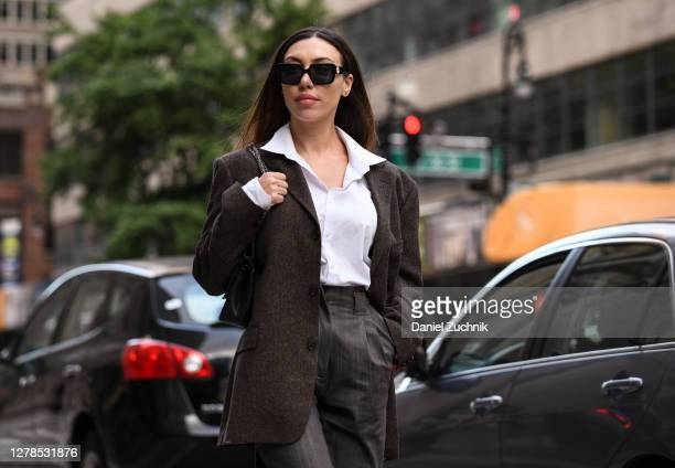 Amina Kadyrova is seen wearing a Floriane Fosso Collection outfit on the streets of Manhattan on October 04 2020 in New York City