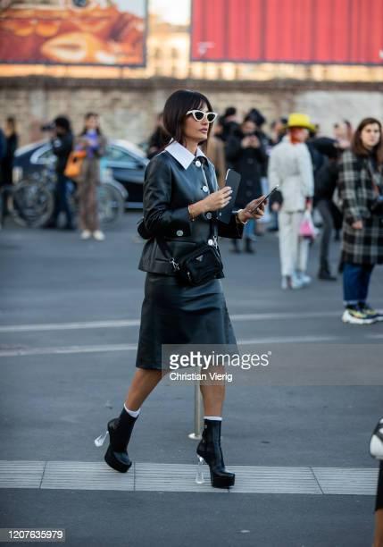 Amina Muaddi seen outside Prada during Milan Fashion Week Fall/Winter 20202021 on February 20 2020 in Milan Italy