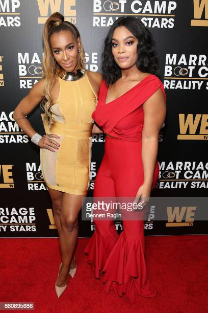Amina Pankey and Mehgan James attend the exclusive premiere party for Marriage Boot Camp Reality Stars Season 9 hosted by WE tv on October 12 2017 in...