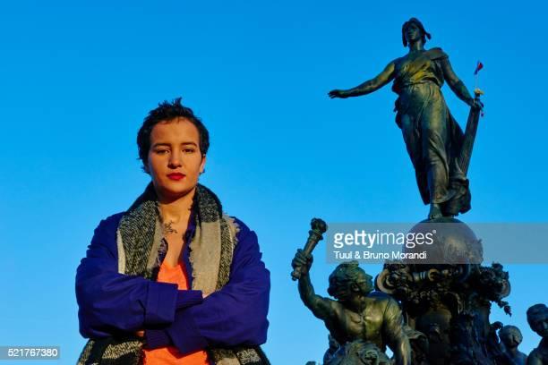 Amina Sboui in Paris, Tunisian feminist activist