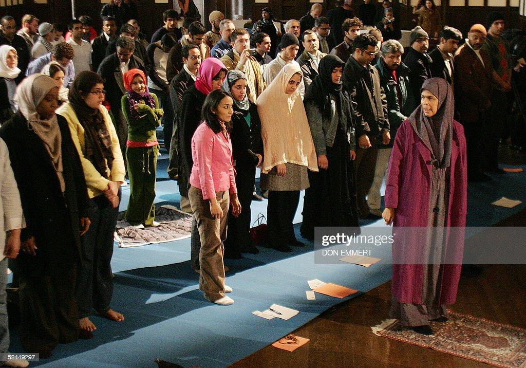 Amina Wadud (R), a professor of Islamic : News Photo