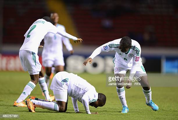 Aminat Yakubu of Nigeria celebrates her goal during the FIFA U17 Women's World Cup Group D match between Nigeria and Mexico at Estadio Nacional on...