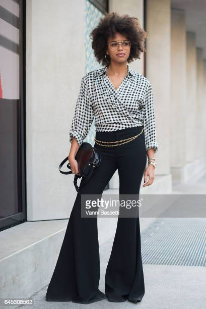 Aminata Belli poses before the Agnona show during Milan Fashion Week Fall/Winter 2017/18 on February 25 2017 in Milan Italy