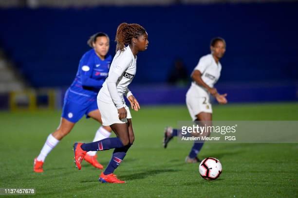 Aminata Diallo of Paris SaintGermain runs with the ball during the UEFA Women's Champions League Quarter Final First Leg match between Chelsea Women...
