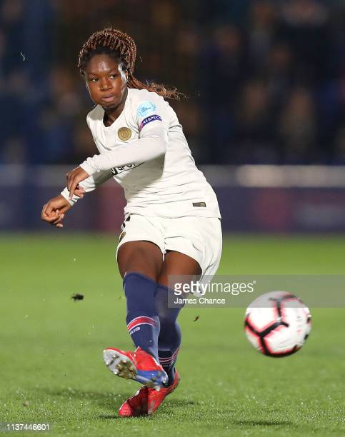 Aminata Diallo of PSG makes a pass during the UEFA Women's Champions League Quarter Final First Leg match between Chelsea Women and Paris...