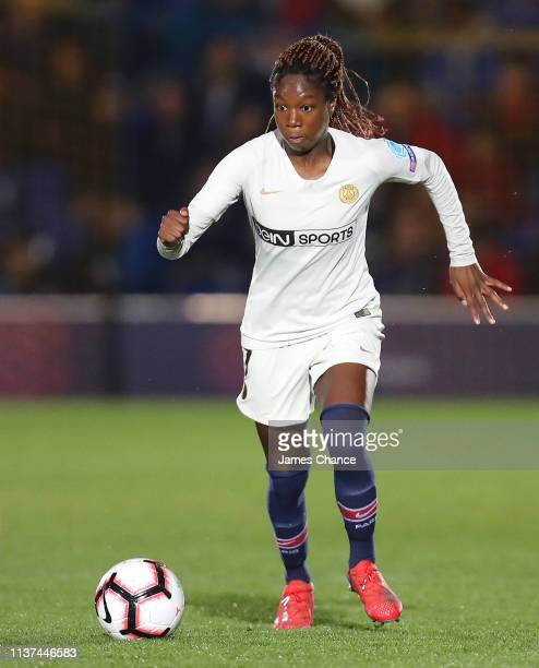 Aminata Diallo of PSG runs with the ball during the UEFA Women's Champions League Quarter Final First Leg match between Chelsea Women and Paris...