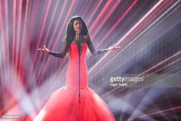Aminata of Latvia performs on stage during rehearsals for the final of the Eurovision Song Contest 2015 on May 22, 2015 in Vienna, Austria. The final...