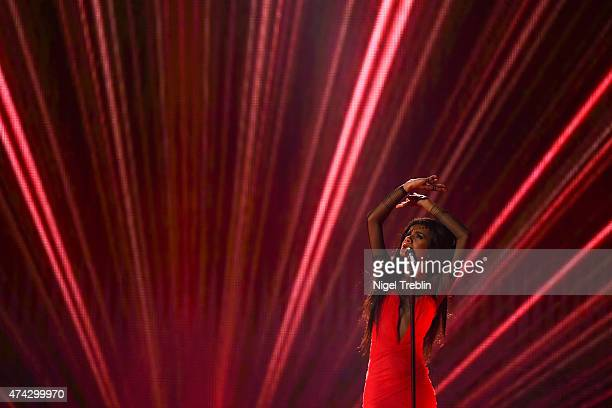 Aminata of Latvia performs on stage during the second Semi Final of the Eurovision Song Contest 2015 on May 21, 2015 in Vienna, Austria. The final of...