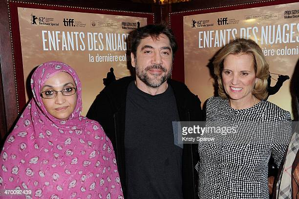 Aminatou Haidar Javier Bardem and Kerry Kennedy attend the 'Sons Of The Clouds The Last Colony' documentary press conference at Hotel...