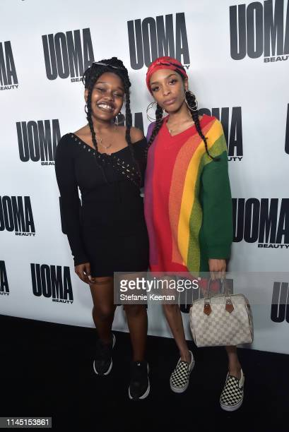 Amindi K Frost and Kennedy attend UOMA Beauty Launch Event at NeueHouse Hollywood on April 25 2019 in Los Angeles California