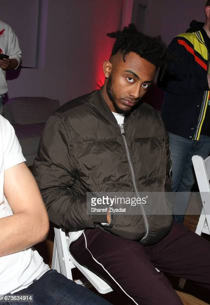 Amine attends Inside Wale's 'Shine' Listening Event at Genius Event Space on April 26 2017 in New York City