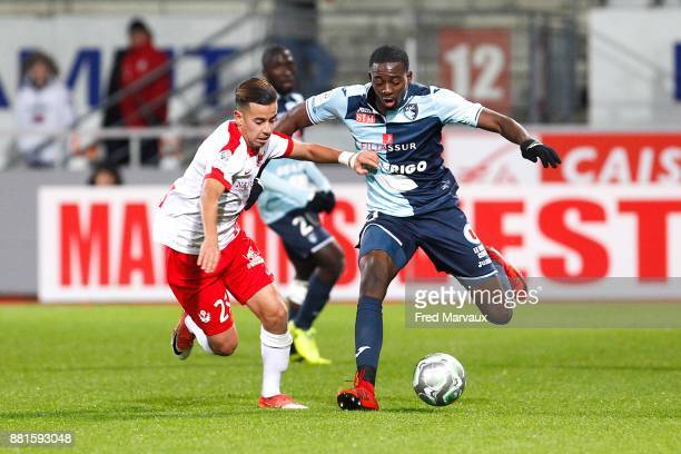 Amine Bassi of Nancy and Jean Philippe Mateta of Le Havre during the Ligue 2 match between Nancy and Le Havre on November 28 2017 in Nancy France