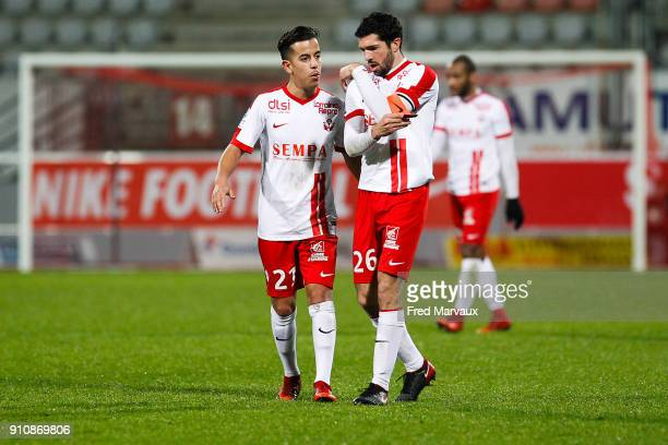 Amine Bassi of Nancy and Vincent Muratori of Nancy during the Ligue 2 match between Nancy and Brest on January 26 2018 in Nancy France