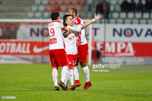 Amine Bassi of Nancy celebrates scoring his goal during the Ligue 2 match between Nancy and Brest on January 26 2018 in Nancy France