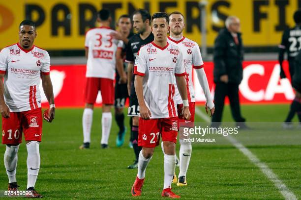 Amine Bassi of Nancy looks dejected at the end of the game during the Ligue 2 match between AS Nancy and AC Ajaccio on November 17 2017 in Nancy...