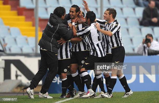 Amine Benatia of Udinese celebrates after scoring his first opening goal during the Serie A match between Udinese Calcio and US Citta di Palermo at...
