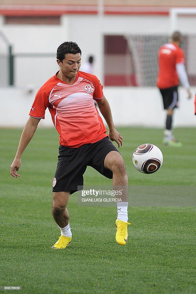 Amine Chermiti of Tunisia warms up durin : News Photo