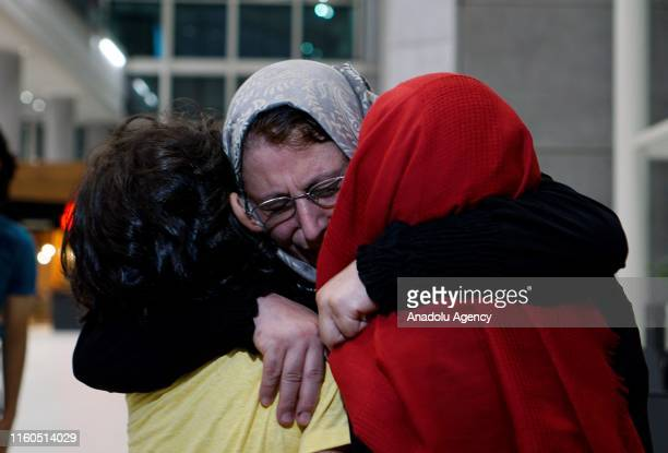 Amine el Mulhim a partiallysighted woman meets her children after being released from Adra Prison in Damascus on August 09 2019 in Istanbul Turkey...