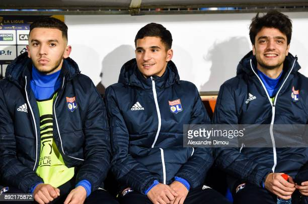 Amine Gouiri and Houssem Aouar and Clement Grenier of Lyon during the french League Cup match Round of 16 between Montpellier and Lyon on December 13...