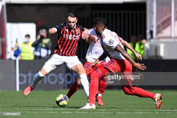 Amine GOUIRI during the Ligue 1 Uber Eats match between Nice and Lyon at Allianz Riviera on October 24, 2021 in Nice, France.