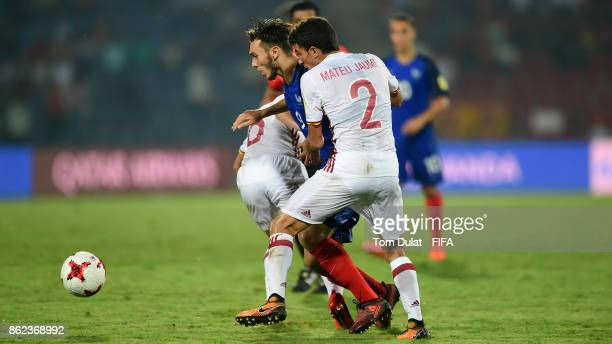 Amine Gouiri of France and Mateu Jaume of Spain in action during the FIFA U17 World Cup India 2017 Round of 16 match between France and Spain at...