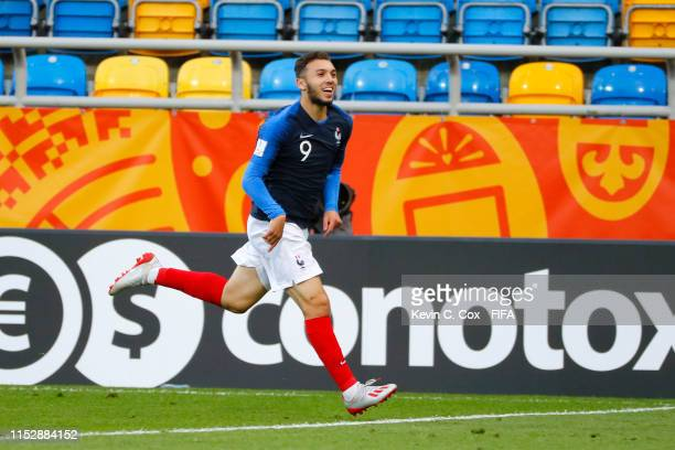 Amine Gouiri of France celebrates after scoring his team's third goal during the 2019 FIFA U-20 World Cup group E match between Mali and France at...